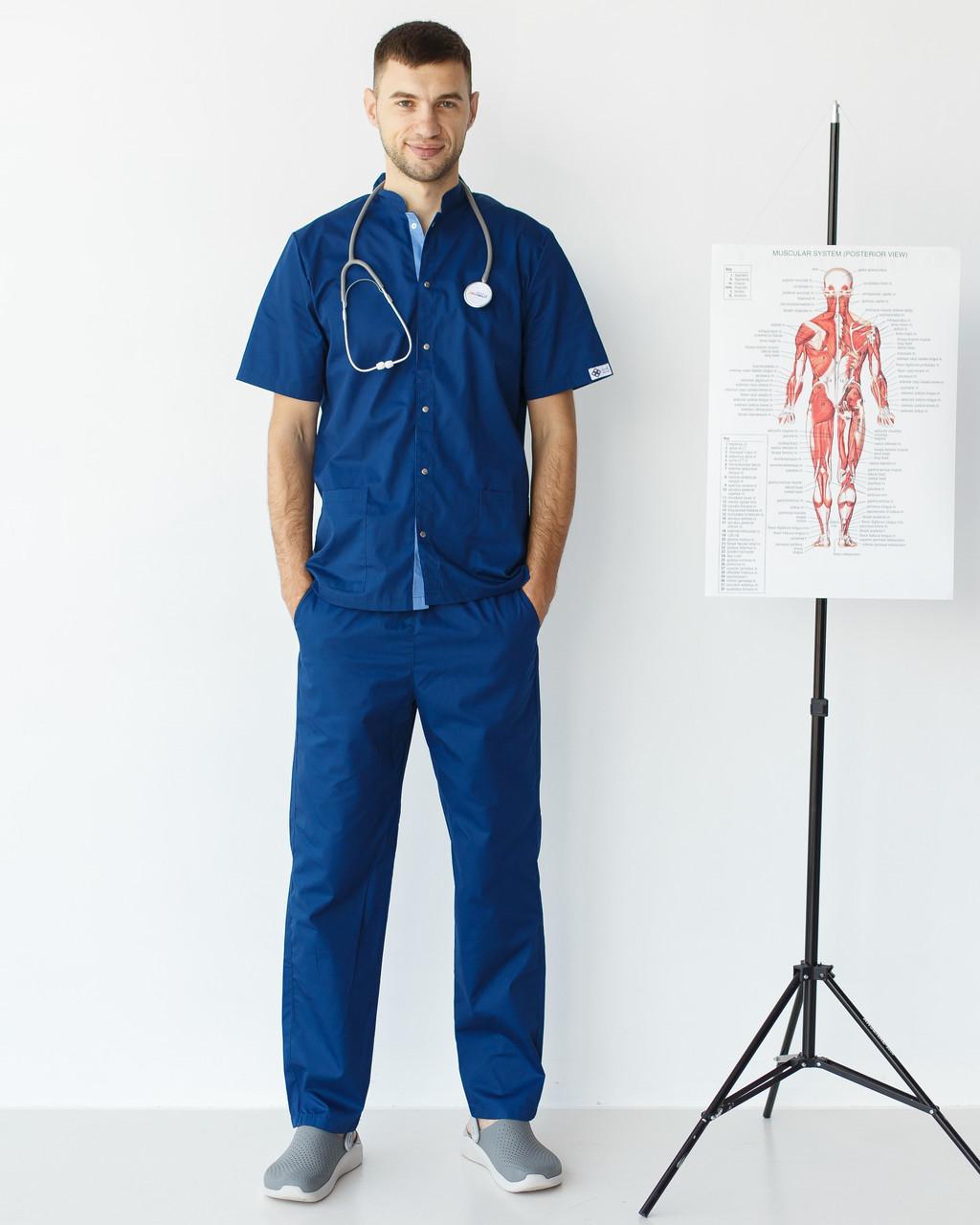Медичний костюм чоловічий Лондон синій-блакитний