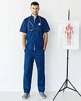 Медичний костюм чоловічий Лондон синій-блакитний, фото 1