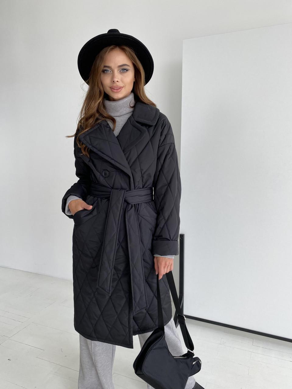 Женское стеганое пальто демисезонное (р. XS, S, M, L, XL) арт. 48515/116-97
