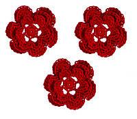 Мини декор Цветок вязаный Красный 3.5 см HandMade, фото 1