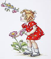 B1050 Девочка в красном платье