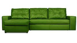 Модульный диван Калифорния с оттоманкой в ткани, дельфин, зелёный