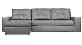 Модульный диван Калифорния с оттоманкой в экокоже, дельфин, серый