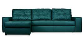 Модульный диван Калифорния с оттоманкой в экокоже, не раскладной, бирюзовый