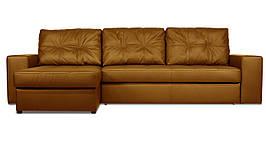 Модульный диван Калифорния с оттоманкой в натуральной коже, дельфин, коричневый