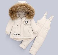 Зимний детский комбинезон на пуху, натуральный мех, Детский пуховик, зимняя детская куртка