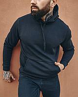 Худі толстовка з капюшоном чоловічий зимовий теплий чорний без логотипу, фото 1