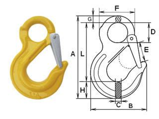 Крюк с проушиной и защелкой типа SL-13  1,12тн
