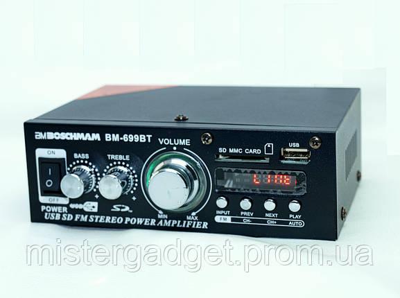 Підсилювач Звуку Boschmann BM-699BT FM USB Bluentooth, фото 2
