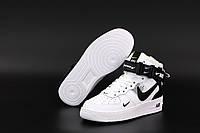 Зимние высокие кожаные кроссовки Nike Air Force 1 Mid TM White (Теплые кроссовки на меху Найк Аир Форс белые)
