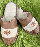 Домашні шкіряні жіночі капці з овечої шерсті, тапочки жіночі домашні