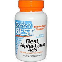Альфа -липоевая кислота 150 мг 120 капс снижение сахара в крови, при сахарном диабете Doctor's Best USA
