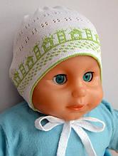 Хлопковая шапка на завязках Кроха для детей (3-9 мес)