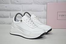 Белые кроссовки на платформе натуральная кожа Fabio Gutti