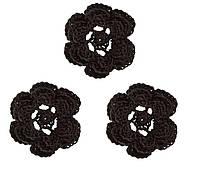 Мини декор Цветок вязаный Черный 3.5 см HandMade
