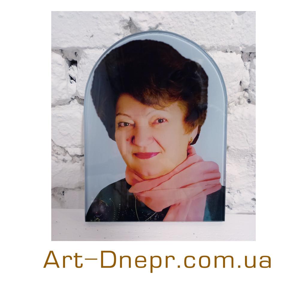 Кольоровий портрет на пам'ять пам'ятник зі скла індивідуальної форми