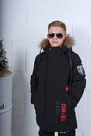 Куртка зимняя подросток OR-EL для мальчика 8-12 лет,черного цвета
