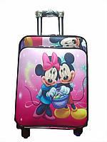 Детский чемодан на 4 колесиках Микки Маус, телескопическая ручка 2 положения. Подарок замок