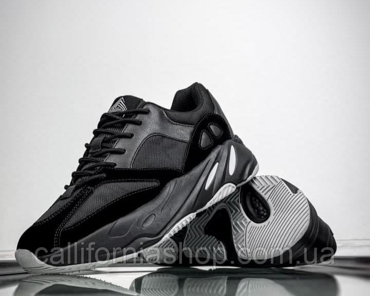 Чоловічі кросівки чорні замш текстиль демісезонні на високій підошві