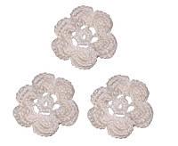 Мини декор Цветок вязаный Белый 3.5 см HandMade, фото 1