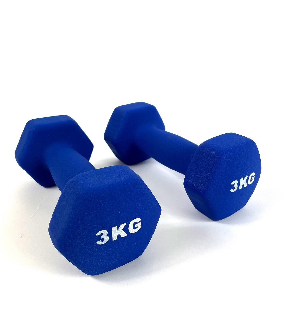 Гантелі металеві 2 по 3 кг з вініловим покриттям для фітнесу комплект (набір гантелей загальна вага 6 кг)