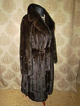 Норковая шуба коричневая с поясом, фото 2