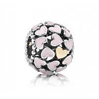 Шарм «Любовь повсюду» из серебра 925 пробы с золотом 585 пробы Пандора (Pandora)