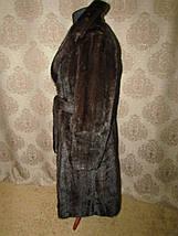 Норковая шуба коричневая с поясом, фото 3