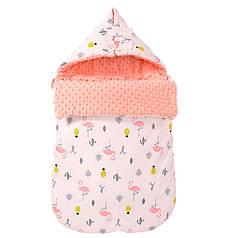 Конверт-одеяло Lovely Baby Lesko J21 Flamingo для малыша новорожденного на выписку