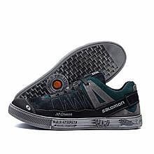 Чоловічі шкіряні кросівки Salomon Grey and Green Trend (репліка)