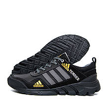 Чоловічі шкіряні кросівки Adidas Terrex Black (репліка)