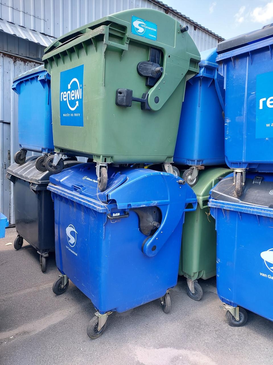 Пластиковий контейнер для сміття зі сферичною кришкою на 1,1 м3. Б/У