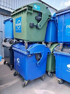 Пластиковый контейнер для мусора со сферической крышкой на 1,1 м3. Б/У