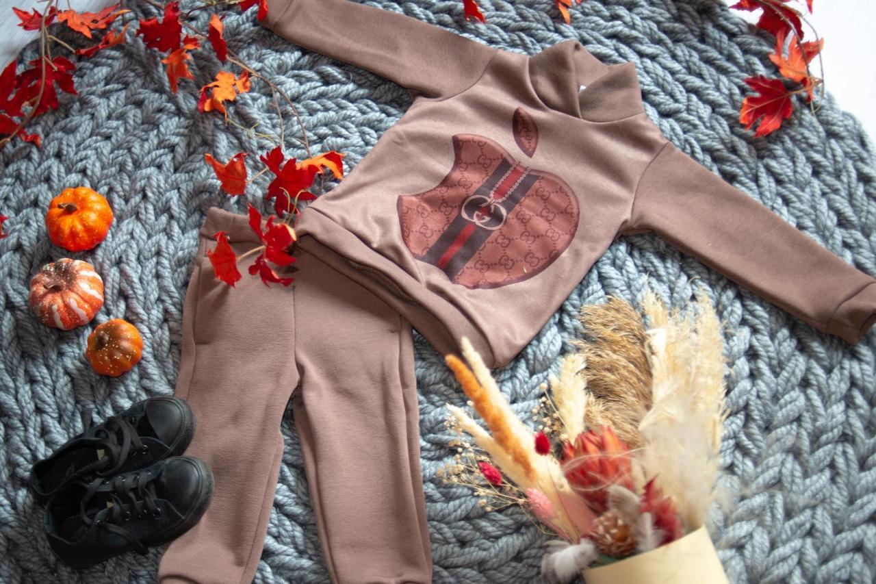 Спортивний костюм на байку для дівчинки з логотипом apple 80-134р