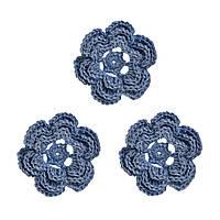 Мини декор Цветок вязаный Сланцевый 3.5 см HandMade