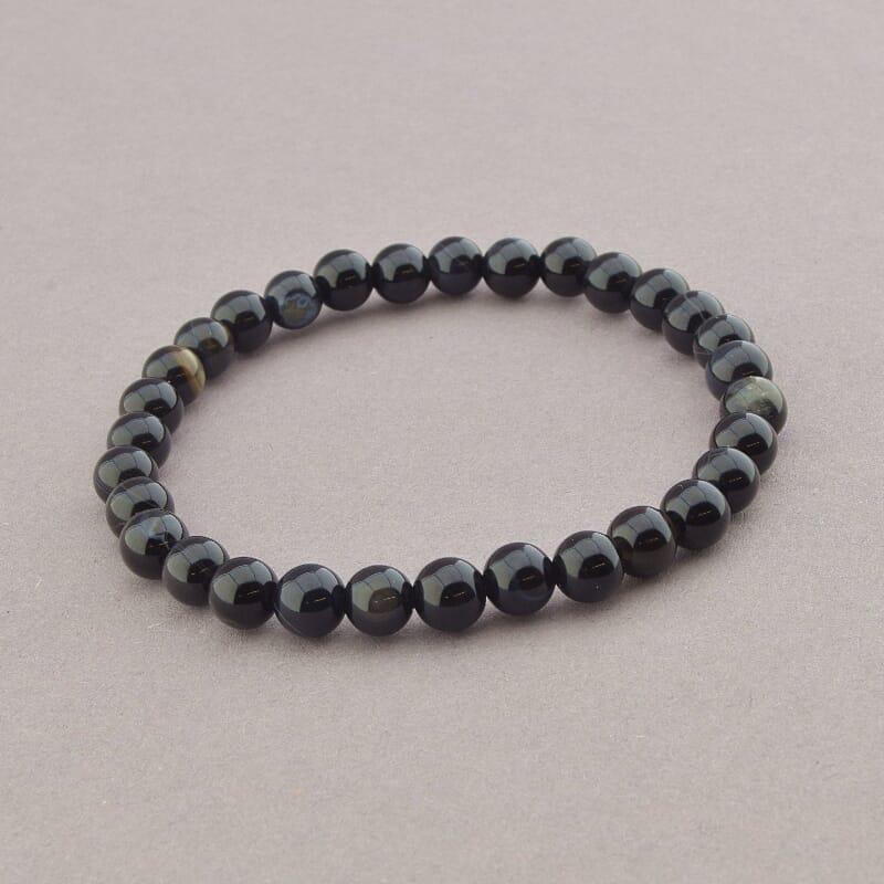 Браслет з натурального каменю чорний Агат 18 см