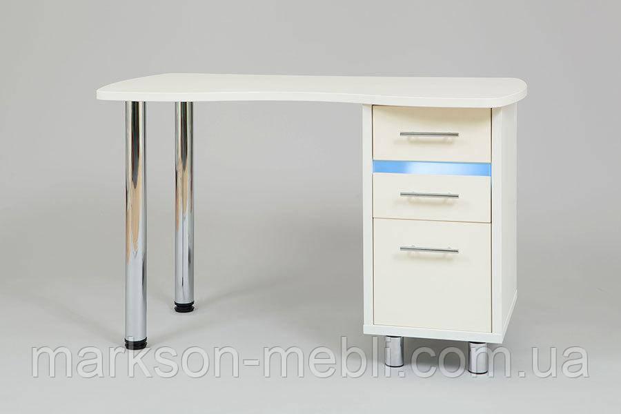 Стол для мастера маникюра с бактерицидной лампой в ящике тумбы