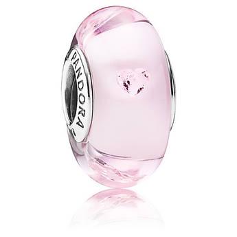 Шарм «Розовое мурано» из серебра