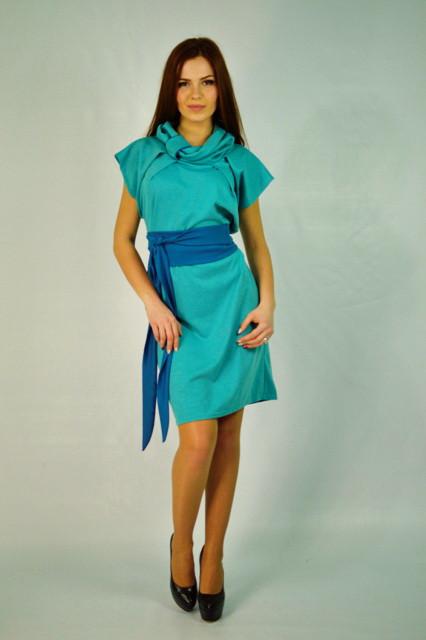 Модное трикотажное платье. Доминика голубого цвета.