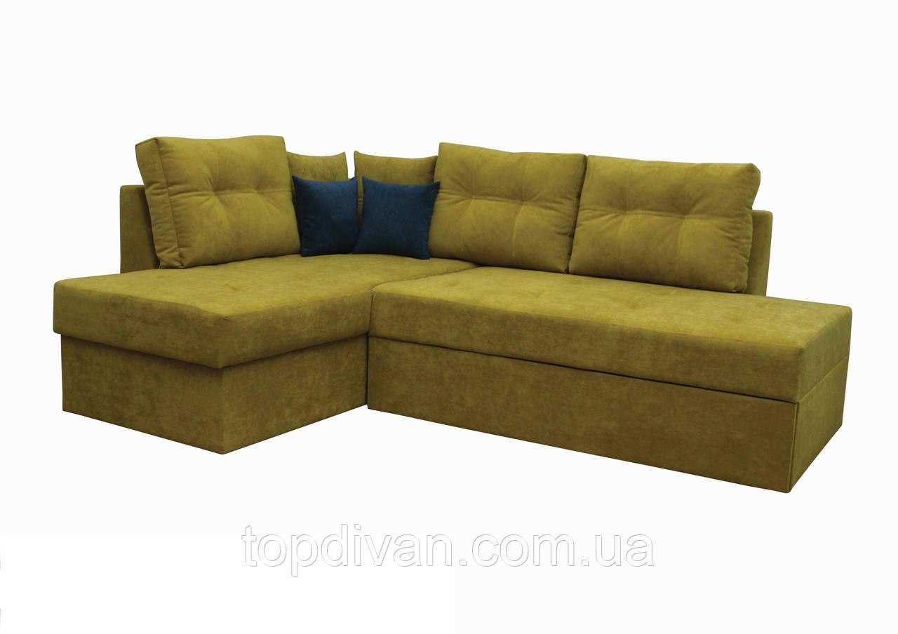 "Угловой диван ""Сандро+"" (ткань 37) Габариты: 2,25 х 1,70  Спальное место: 2,05 х 1,45"