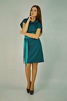 Модное трикотажное платье-сарафан. Доминика бутылочного цвета.