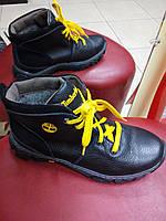 Подростковые ботинки зимние под Тимберленд черные из натуральной кожи