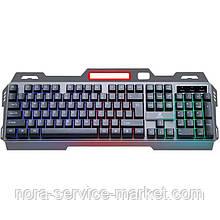 Клавиатура USB JEQANG JK-918 LED (игровая/метал.корпус/подставка для телефона) Graphite