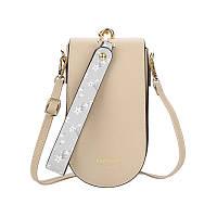 Женская сумочка-кошелек Lesko N8613 портмоне с ремнем на плечо Бежевый