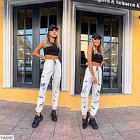Стильные молодежные штаны в спортивном стиле из двух-нитки