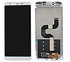 Дисплей (экран) для Xiaomi Mi A2 /Mi 6x + тачскрин, белый, с передней панелью
