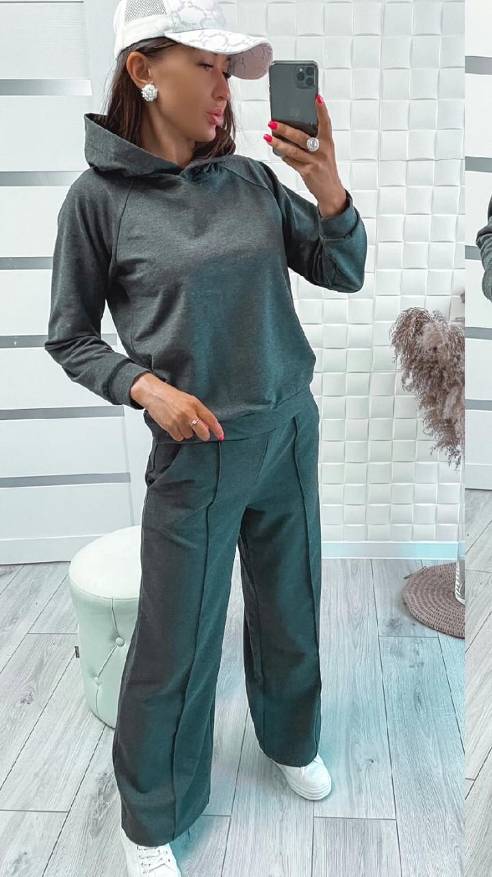 Спортивний костюм з двунитки худі і штани зі стрілками, колір графіт N309