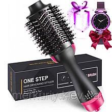 Фен щетка One Step Hair Dryer and Styler 3в1   Cтайлер для укладки волос One Step 3в1  Расческа с феном черная