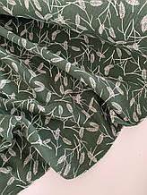 Муслін (бавовняна тканина) колосок на зеленому (50*135)