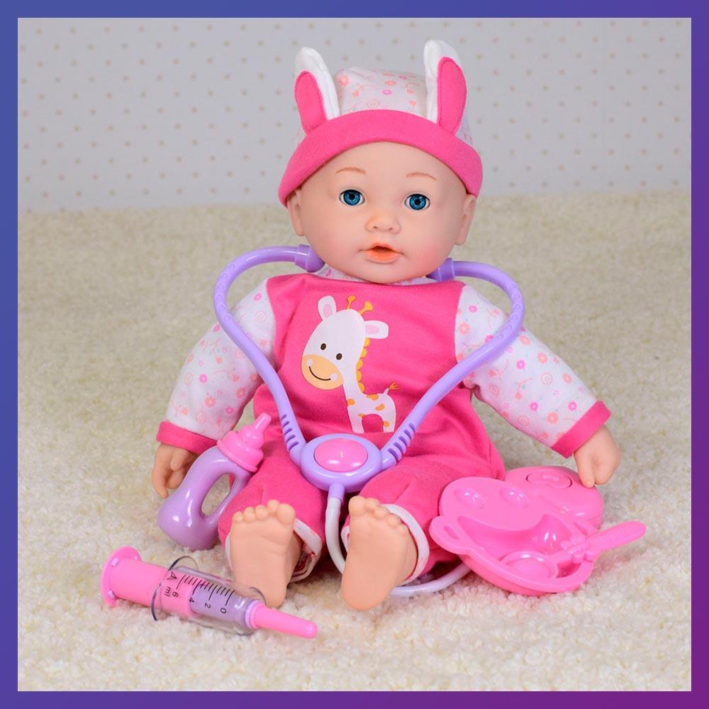 Іграшкова лялька-пупс М 4034 UA музичний сенсорний з аксесуарами